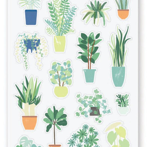 house plant planters sticker sheet