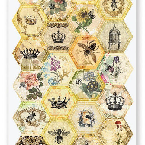 hexagon queen bee comb honey sticker sheet