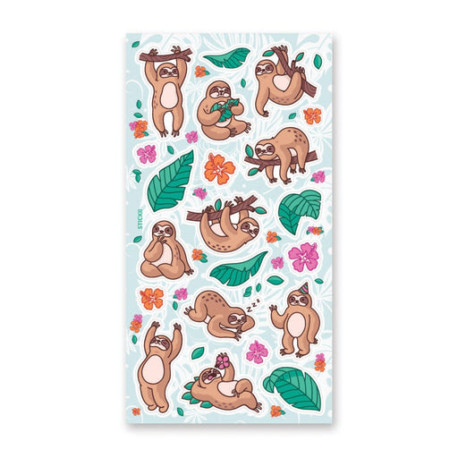 tropical hawaii sloth sticker sheet