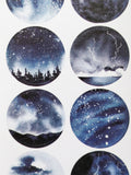 horizon sky night stars ocean forest sticker sheet