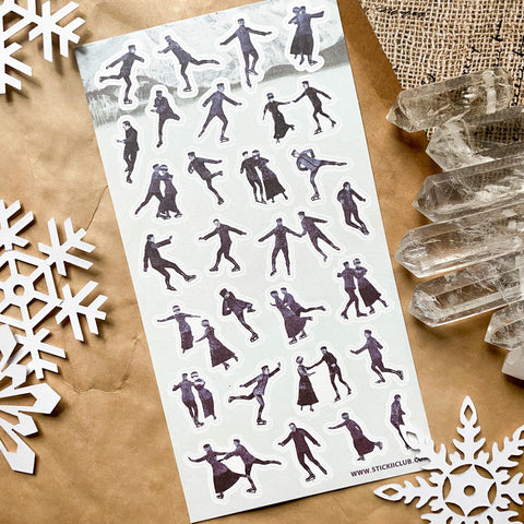 ice skating people winter sticker sheet