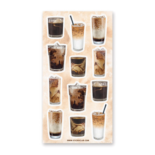iced coffee drink sticker sheet