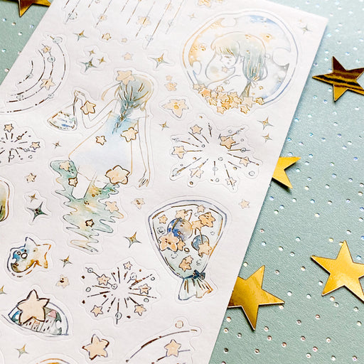 star bubble girl sticker sheet