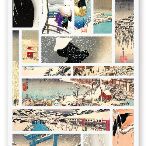 japanese scenes birds snow village sticker sheet