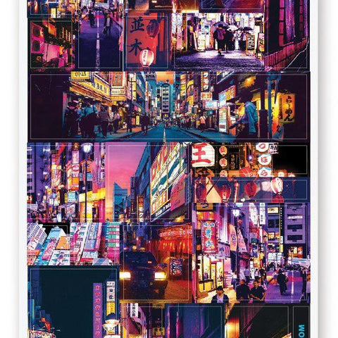 japan tokyo city night sticker sheet