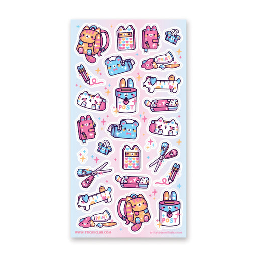 stationery cat cute sticker sheet