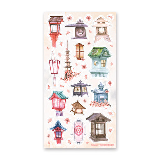lantern japan asian sticker sheet