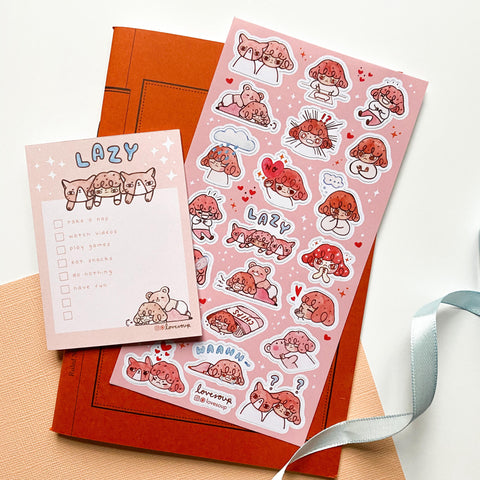 grumpy lazy sleepy pink girl cat sticker sheet
