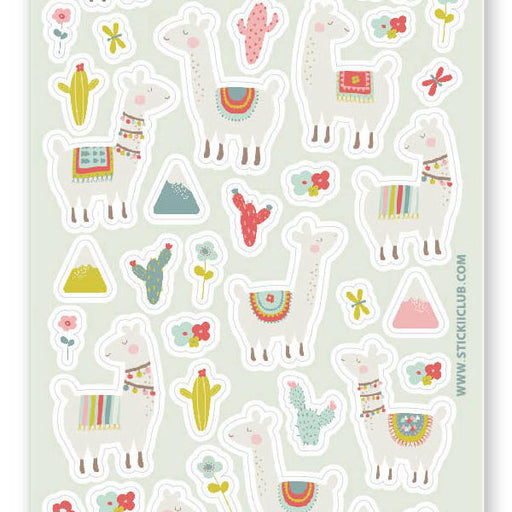 llama mountain cactus sticker sheet