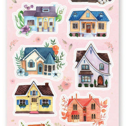 house home cute neighbors sticker sheet