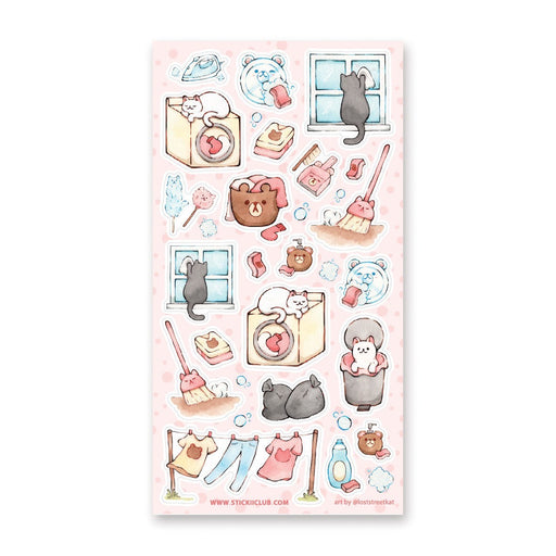 cat chore cleaning home sticker sheet