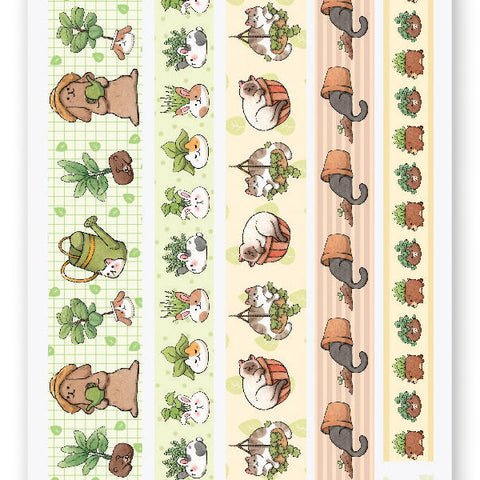 planter plant washi pot cats sticker sheet