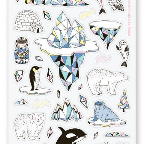 igloo iceberg animals ice snow sticker sheet