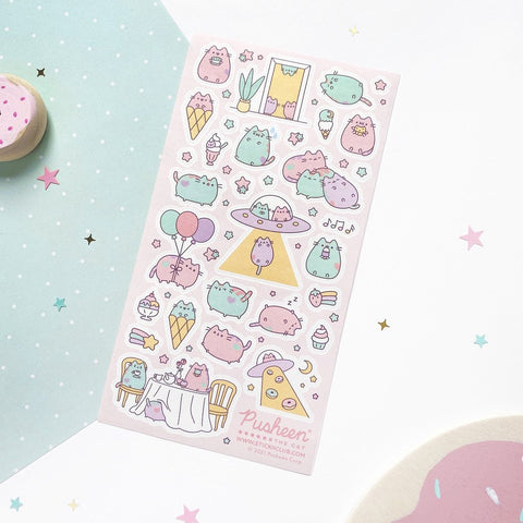 pastel cat kitty pusheen ufo sticker sheet
