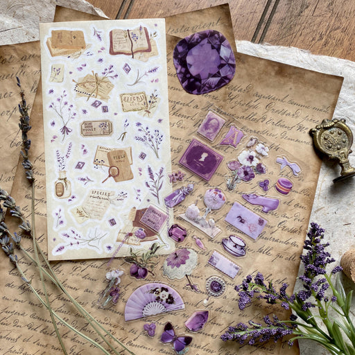 lavender floral flowers petals journal notebook letters sticker sheet