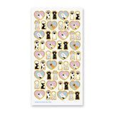 cat paws love heart sticker sheet