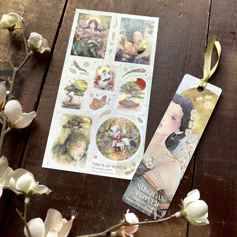 fantasy girls asian bonsai nature floral sticker sheet