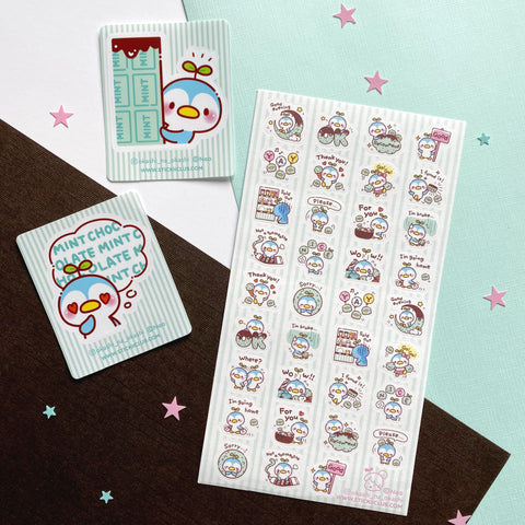 blue penguin chocolate mint decals