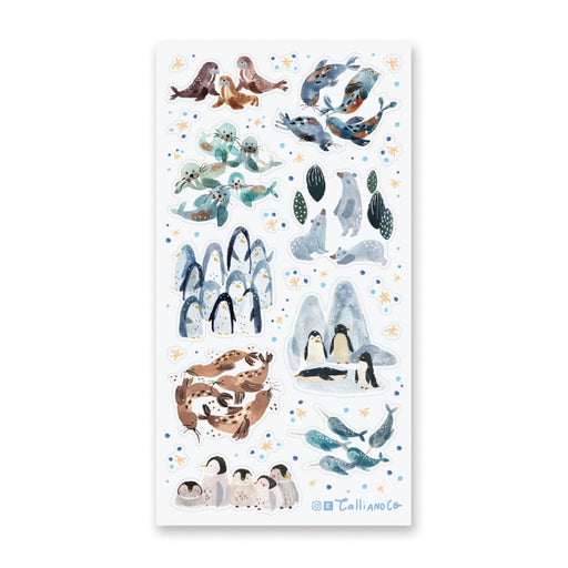 penguin seal winter snow sticker sheet
