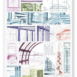 architecture drafting blueprint sticker sheet