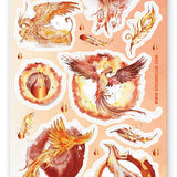 bird mythical creature fire sticker sheet