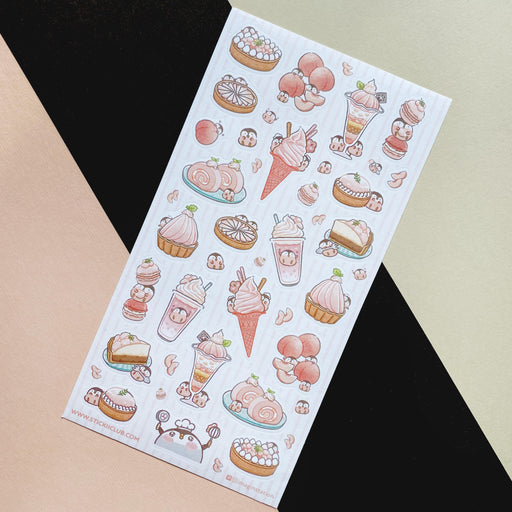 peach pink penguin desserts sweet sticker sheet