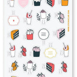 sweet cake dessert sticker sheet