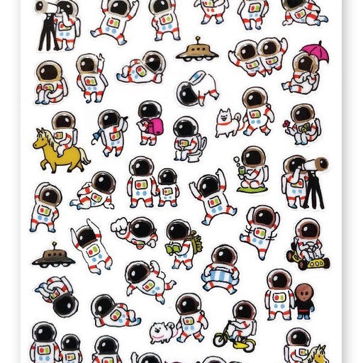 astronauts playing fun friend sticker sheet