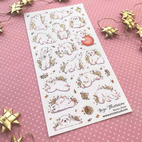 polar bear winter snow sticker sheet gold