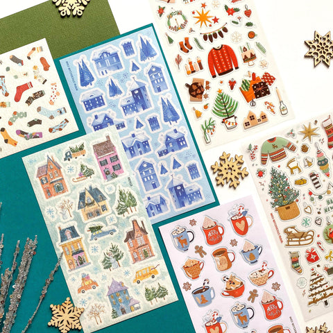pop christmas winter house drink socks sticker sheet set