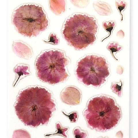 flowers pink petals sticker sheet