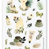 spa self care beauty skincare routine sticker sheet