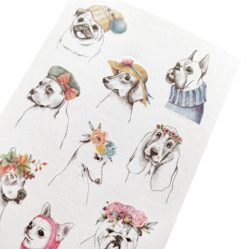 dog pooches fashion floral crown hat sticker sheet