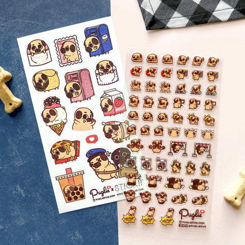 pug mail boba stamp letter ice cream pizza burrito sticker sheet
