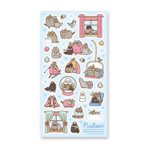 winter snow cat pusheen sticker sheet