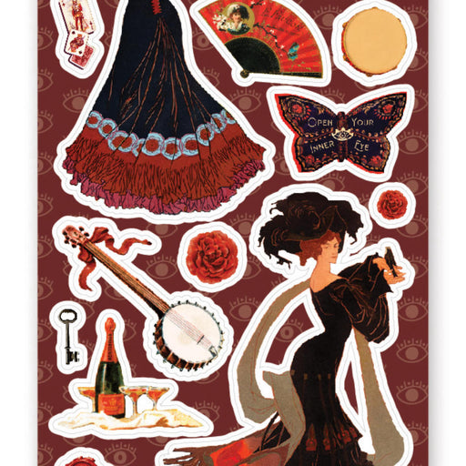 rouge red gypsy fan sticker sheet