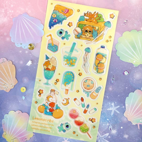beach underwater sea marine sticker sheet