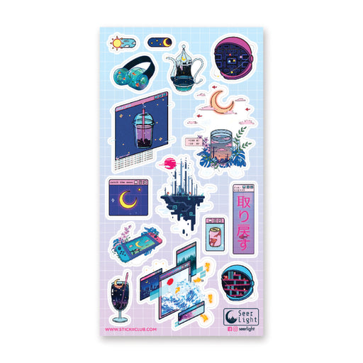 digital tech switch moon headphones sticker sheet