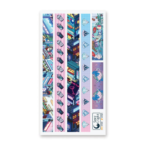 tokyo japan city night neon lights buildings sticker sheet