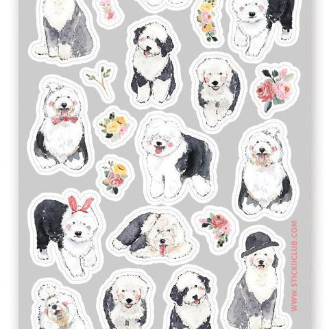 old english sheepdog sticker sheet