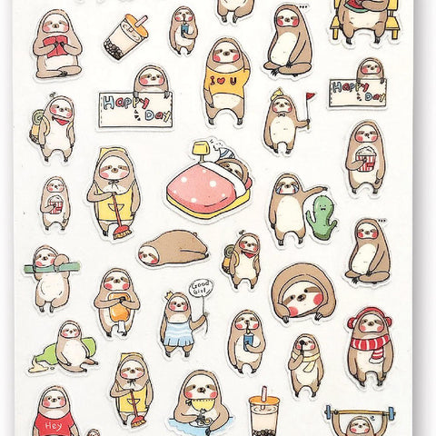 sloths home lazy sticker sheet