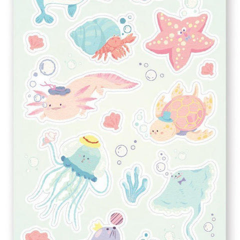 underwater marine ocean sticker sheet
