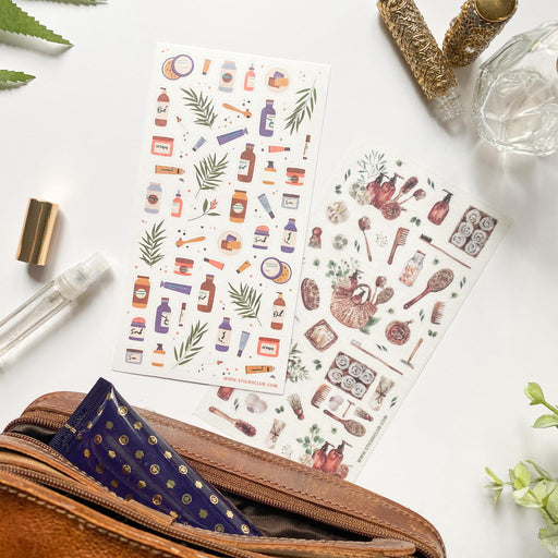 skincare products bath sticker sheet