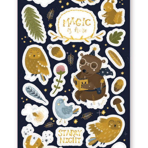bear forest night magic owl starry stars sticker sheet