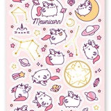 pusheen cat space planet moon star sticker sheet