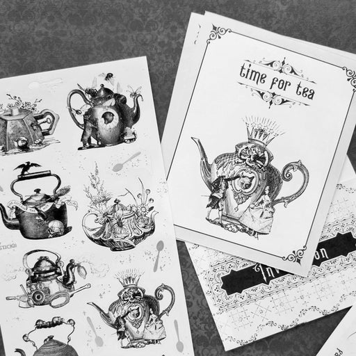 teapot tea time party kettle sticker sheet