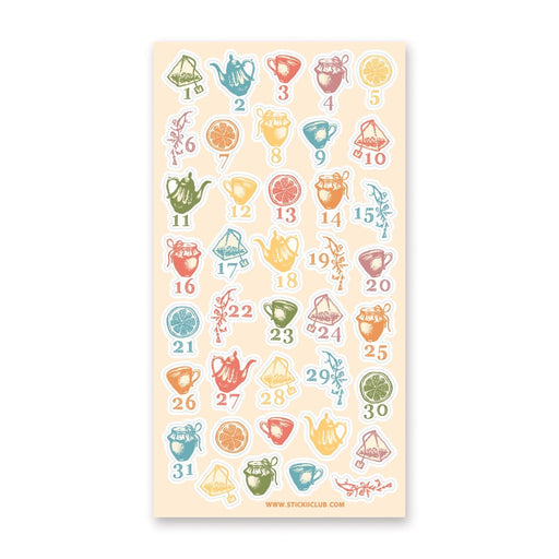 tea bag pot days numbers sticker sheet