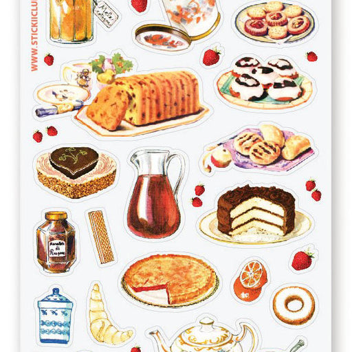 tea party time pastry cookies dessert drinks sticker sheet