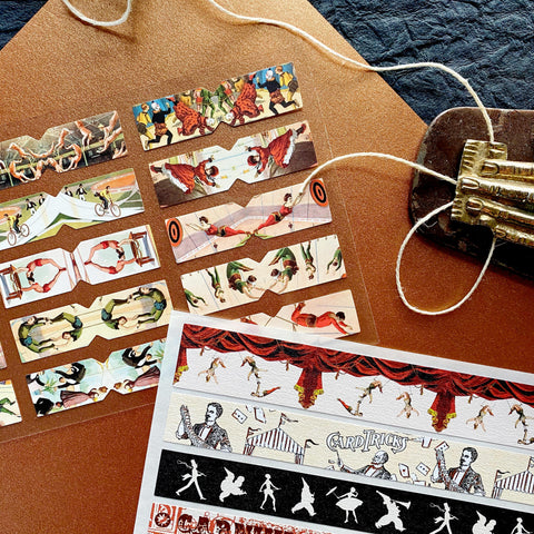 circus tent carnival washi sticker sheet