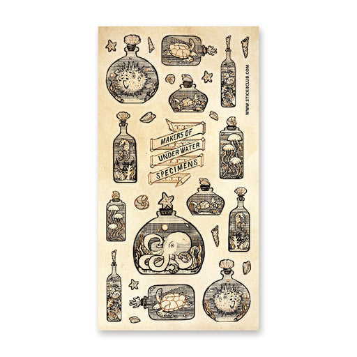 bottled sea creatures ocean sticker sheet